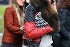 leather jacket and clutch
