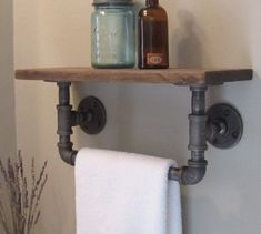 Industrial pipe hand towel rack with wood shelf. towel rack plus shelf in one? Industrial Pipe Shelves, Industrial House, Rustic Industrial, Wood Shelves, Modern Rustic, Rustic Wood, Industrial Lamps, Industrial Bathroom, Plumbers Pipe Shelving