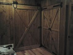 Home made barn doors out of lumber from our farm ash boards.