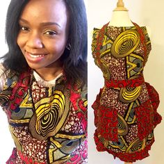 African Wax Print Apron/ African Apron by SwahiliKona on Etsy