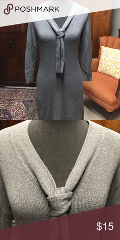 Banana Republic sweater dress Gray cotton sweater dress 34 inches long with cute tie around the neck EUC Banana Republic Dresses Midi