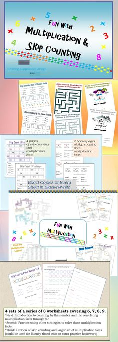 4 Multiplication and Skip counting products, bundled together to save you money. Your students will love the activities included: skip count challenge, mazes, four square, cross word puzzles, and more. $...at 30% discount
