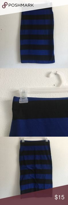 Forever 21 Blue and Black Striped Pencil Skirt Like new condition! size small. Blue & Black striped bodycon style skirt. Forever 21 Skirts