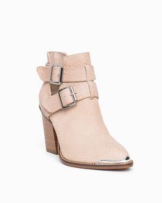 Cute taupe leather boots with buckle closures at the ankle, cut-out design and hardware at the toes and heel.  Also available in black.