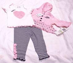 BABY GIRLS GUESS SUMMER COTTON JACKET TSHIRT & PANT SET 3-6 M PINK BNWT CANADA #BABYGUESS