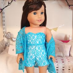 18 inch doll blue lace three piece outfit by SewCuteForever on Etsy https://www.etsy.com/listing/451069322/18-inch-doll-blue-lace-three-piece