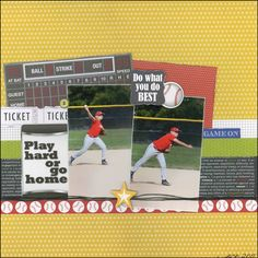 Baseball - Play Hard or Go Home Layout by Carolyn Lontin