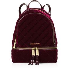 Michael Michael Kors Rhea Medium Velvet Zip Backpack (€285) ❤ liked on Polyvore featuring bags, backpacks, daypack bag, knapsack bag, zip close bags, quilted backpack and michael michael kors