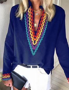 Naisten Color Block T-paita Musta Blouse, Long Sleeve, Sleeves, Tops, Women, Fashion, Moda, Long Dress Patterns, Fashion Styles