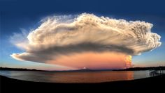Picture of a cloud above Calbuco volcano as it erupts as seen from Frutillar, Chile