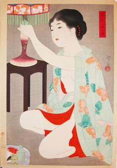 Lamp ( series 24 figures of Charming Women) by Morikane, 1931