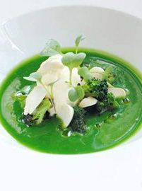 Chilled broccoli soup, salt cod mousse, seared hand-dived scallops and broccoli shoots - Shay Cooper - a fantastic summery indulgence.