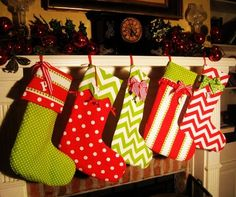 Lime Green And Red Christmas Stocking - Large Red Christmas Stocking