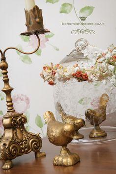 gold iron birds www.bohemiandreams.co.uk Vintage Props, Vintage Frames, Vintage Table, Table Names, Vintage Chandelier, Table Plans, Bird Cage, Iron, Jar
