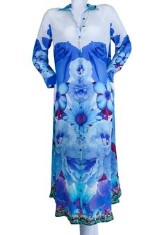 Silk long Dress blue flowers. Crystal embellishment. French Bouquet