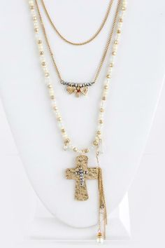 CROSS CHARM TIERED NECKLACE SET