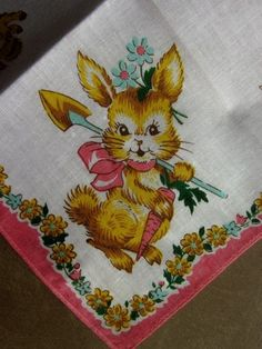 Vintage Easter rabbit hankie. We used to have little hankies similar to these when we were little.