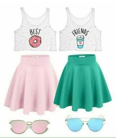 is part of Bff outfits - A fashion look from February 2017 featuring neon pink tank top, wide skirt and blue flared skirt Browse and shop related looks Teen Fashion Outfits, Mode Outfits, Outfits For Teens, Summer Outfits, Girl Outfits, Twin Outfits, Tween Fashion, Best Friend T Shirts, Bff Shirts
