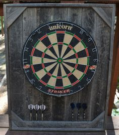 "Dart Board Backboard Cabinet Case Barnwood    $50 for the case $100 for case and dart board. Size: 32"" x 26"" x 1-1/2""."