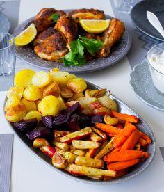 Ugsnrostade rotfrukter som kan serveras vid allt. Man kan variera rotfrukter efter smak och baka sina favoriter. 6 portioner 500 g potatis 3 st morötter 3 st palsternackor 3 st rödbetor 6 st vitlöksklyftor 2 st gula eller röda lökar 1 msk torkad timjan 2 msk olivolja Örtsalt (kan uteslutas) Salt & peppar Gör såhär: Värm ugnen till 200°. Skala och skär grönsakerna i klyftor, lägg på en plåt. Ringla över olivolja, timjan, salt och peppar. Baka mitt i ugnen i ca 30 min. Servera med önskat ti...