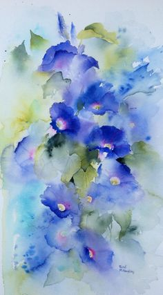 Might be too muddy. Morning Glory watercolour painting