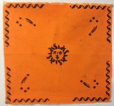 Orange Celestial Sun and Stars Hand Stenciled by CraftyOlBats