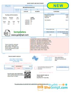 USA Dasor Management and Investment utility bill template