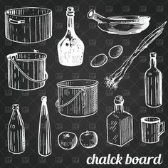 Contour style old houseware (olive oil and wine bottles and stew pan) on chalk tiled wall, 57911, download royalty-free vector clipart (EPS)