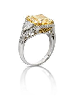 Canary Diamond, Platinum and Yellow Gold Engagement Ring at Houston Jewelry!