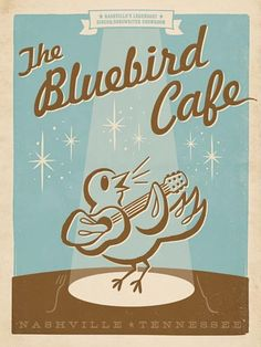 Spirit of Nashville prints. The perfect blend of sophistication and whimsy.    If you've seen the TV show Nashville, then you know The Bluebird Café.  If you ever get to Nashville, then you must catch a show there!!!!