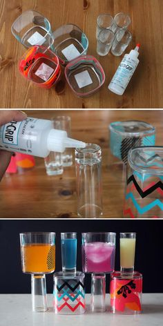 Wine glass/shot glass combo. Guests can choose their own adventure. Get the tutorial here.