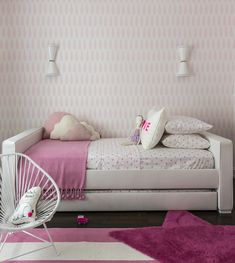 Upholstered Dorma Twin Bed with Trundle in a pink girls room designed by Sissy and Marley.