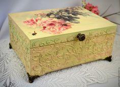 """Купить Шкатулка для украшений """"Нежные розы"""", подарок женщине - бежевый, шкатулка для украшений"""