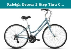 """Raleigh Detour 2 Step Thru Comfort Bike, 15"""" /Sm Frame, Blue, 15"""" / small. Are you ready to paint the town but still crave the comfort of a cruiser casual city riding meets serious comfort in the mid-level detour 2 step thru hybrid bike. Whether you're riding to hot yoga, meeting friends for drinks, or grabbing groceries, the detour 2 step thru will get you there quickly and comfortably. Prizing comfort with a focus on function, the detour 2 step thru delivers the best of both..."""