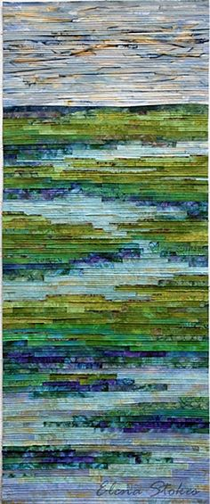 Tranquil Marsh - Wild Iris   Torn cotton strips, collaged and stitched 32 x 78   2012