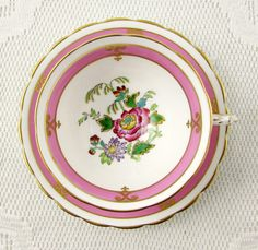 Vintage Tuscan Pink Tea Cup and Saucer with Flowers, English Bone China