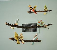 I kept coming across these beautiful bird mobiles in nursery pictures      Photo credit: Mrs.KLF   and after a Google search, learned they a...
