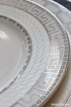 Greek key patterned plates from Mikasa