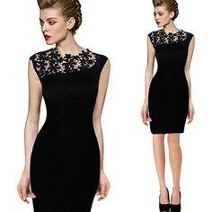 Shmimy レディース ミニワンピース タイト フラワーレース肩 ミニワンピドレス お呼ばれ 結婚式ドレス 大人 女性 優雅細身タイプ ブラック S/M/L/XL/XXLの5サイズ選べる
