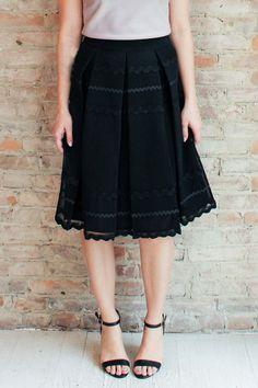 Matinee Midi Skirt - Black - Glamour and Glow  - 1