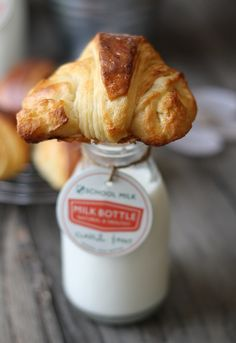 Cute brunch idea: petit croissants and milk bottles. (this is where i squeal and say, it's so cute!!!)