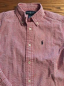 Polo, Ralph Lauren Boys Size 6 Red, White Seersucker Button Front Shirt  | eBay