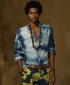 Denim & Supply Ralph Lauren Shirt, Long Sleeve Tie-Dye Denim Western Shirt