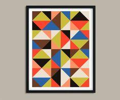 image 0 Modern Prints, Modern Wall Art, Large Prints, Mid-century Modern, Mid Century Modern Colors, London Poster, Modern Color Palette, Triangle Print, New York Art