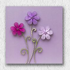 This one is a cute string art painting that I like to call Three little flowers. ITEMS MEASUREMENTS: Dimensions: 13.8 x 13.8 / 35cm x 35cm (Width x Height) Weight: ~ 1.5 pounds / 0.7 kg MATERIALS: All materials used are eco-friendly, while I never use spray paints or other toxic materials. All of my pieces are painted at all sides by hand, using top quality acrylic colors and brushes. For my creations I use galvanized steel nails (which means that they are protected from humidity and…