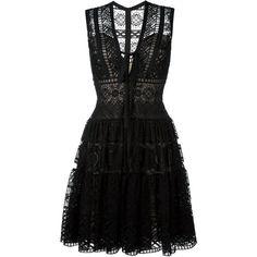 Elie Saab embroidered flared dress ($4,865) ❤ liked on Polyvore featuring dresses, vestidos, short dresses, black, elie saab dresses, silk print dress, flared dresses, embroidery dress and silk dress