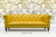 The Wright takes the classic Chesterfield sofa style you know and love to a whole knew level by featuring a tufted seat instead of the traditional cushions. Traditional Cushions, Chesterfield Style Sofa, Fabric Combinations, Yellow Leather, Leather Fabric, Daffodils, Furniture Making, Love Seat, Furniture Design
