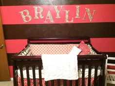 Raspberry Dot nursery for baby Braylin by Mommy Jesica R. Very cute! We're loving the wall colors! Browse the entire Raspberry Dot crib bedding collection!