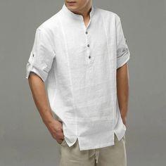 Wedding Dress Men, Wedding Shirts, White Shirt Men, Men Shirt, Banded Collar Shirts, Guayabera Shirt, Mens Kurta Designs, Mens Designer Shirts, Linen Shirts
