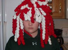 @crocheted 'dreadlocks' in team colors for a game - looks just like your bookworms!